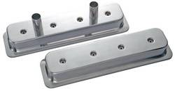 Proform - 141139 - Die Cast Aluminum Valve Cover - 87-current SBC Circle Track , Polished with Vent Tube