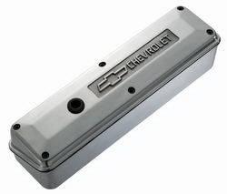 Proform - 141913 - 2-Piece Die Cast Aluminum Valve Cover - SBC, Polished with Raised Emblems