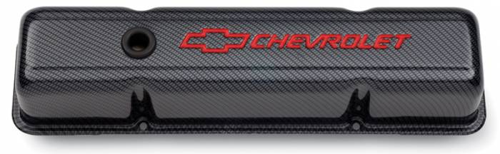 Proform - 141712 - Stamped Steel Carbon-Style Valve Cover - SBC, Tall with Baffle