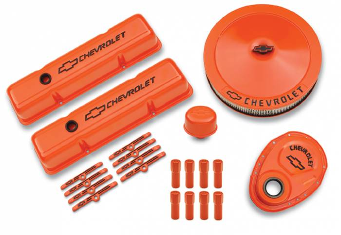 Proform - 141780 - Engine Dress-Up Kit - SBC, Chevy Orange Stamped Steel
