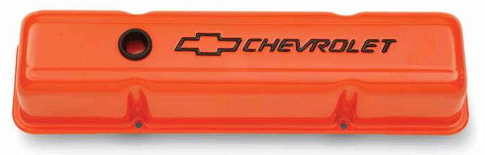 Proform - 141784 - Stamped Steel Chevy Orange Valve Cover - SBC, Tall with Baffle