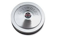 "Chevrolet Performance Parts - 12342071 - 14"" Classic Round Air Cleaner - Chrome Top with Chevrolet Embossed"