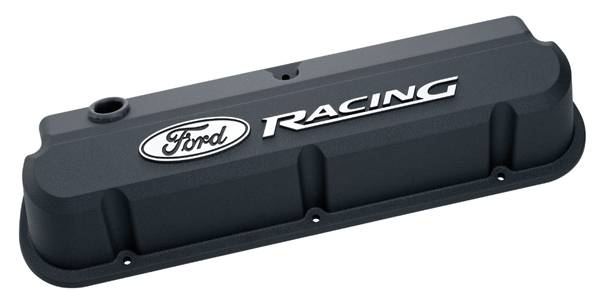 Proform - 302135 - Ford Racing Slant Edge Valve Covers - Black Crinkle Die-Cast Aluminum with Raised Emblems