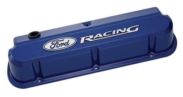 Proform - 302136 - Ford Racing Slant Edge Die-Cast Aluminum Valve Covers - Ford Blue with Raised Emblems