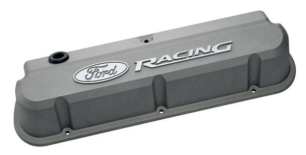 Proform - 302137 - Ford Racing Slant Edge Die-Cast Aluminum Valve Covers - Cast Gray Crinkle with Raised Emblems