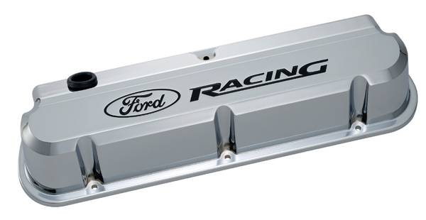 Proform - 302139 - Ford Racing Slant Edge Die-Cast Aluminum Valve Covers - Chrome with Recessed Black Emblems