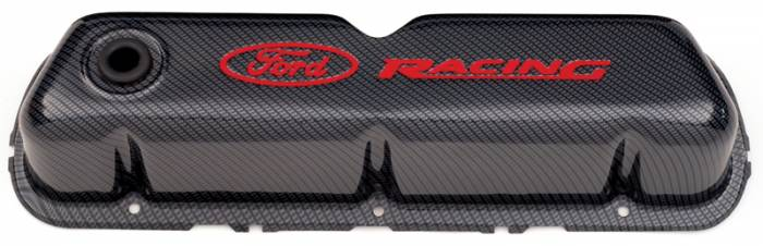 Proform - 302008 - Ford Racing Stamped Steel Valve Covers - Carbon-Style with Red Emblems