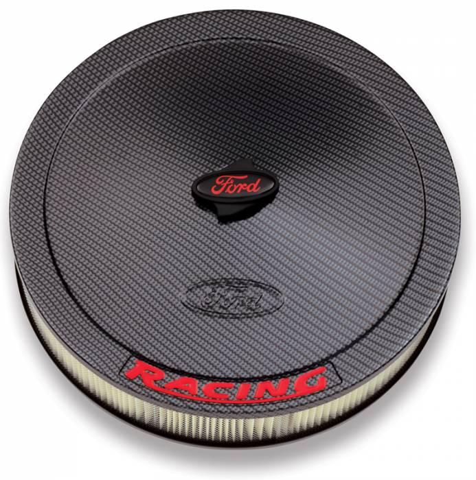 "Proform - 302354 - 13"" Round Ford Racing Air Cleaner - Carbon-Style with Red Emblems"
