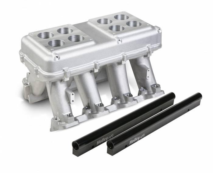 Holley Performance - HLY300-114 -  Holley LS3 Style EFI Hi-Ram Style Intake 2 X 4500 Dominator (2X 2000 CFM Sideways Or Inline Mounting) Dual Quad