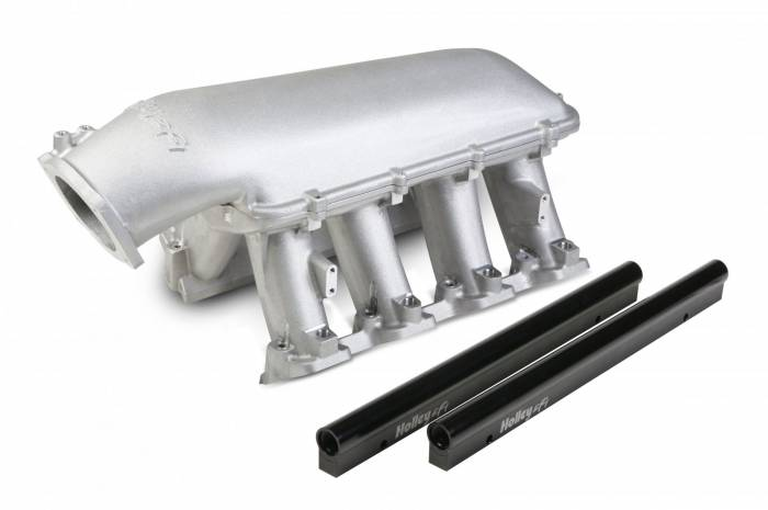 Holley Performance - HLY300-117 - LS3 Style EFI High Ram Style Intake for 1 X 102mm GM LS Throttle Body - Longitudal Mount Plenum Top
