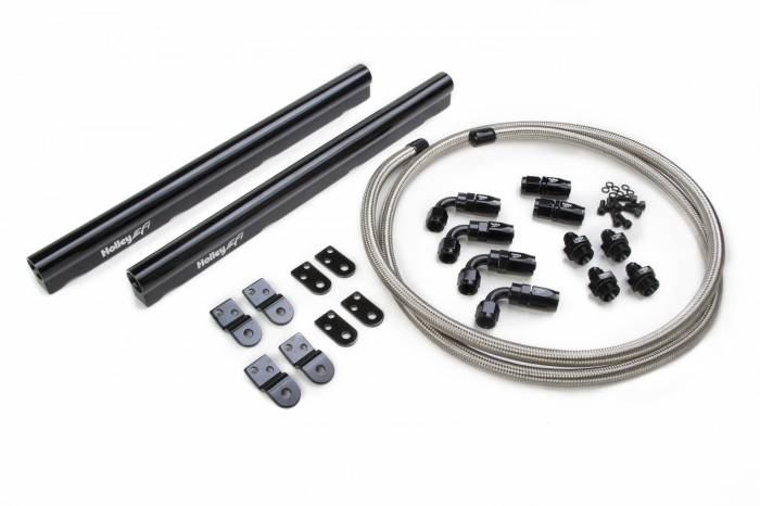 Holley Performance - HLY534-210 -  LS Hi-Flow Holley EFI Fuel Rail Fits LS1, LS2, LS3, LS6. L76, L99 Factor Intakes, Includes Braided Hose & Hose Ends