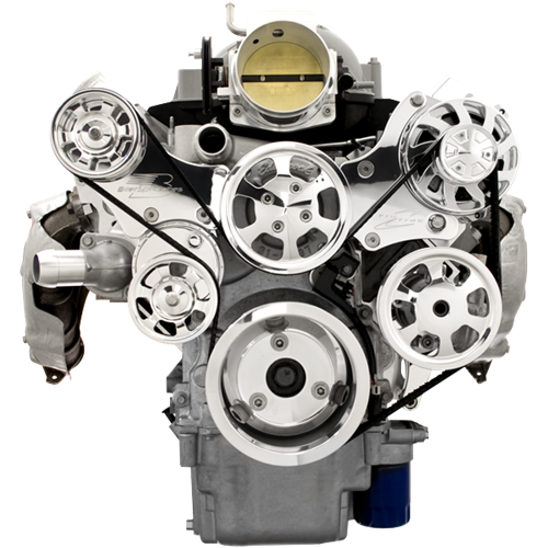 Billet Specialties - BSP13455P - Tru Track LS Serpentine System - Alternator and Power Steering Only, with Upgrade Polished Alternator