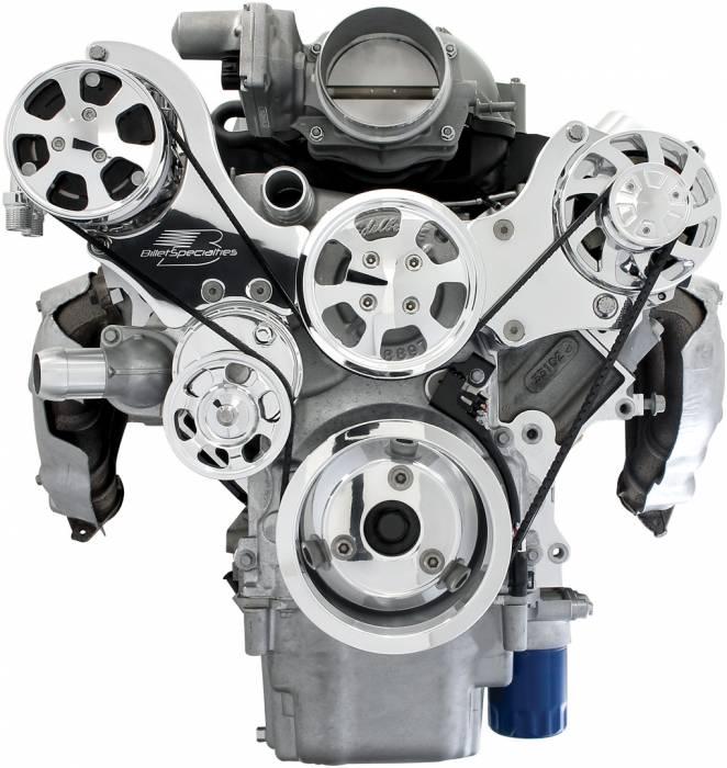 Billet Specialties - BSP13470 - Tru Track LS Serpentine System - Alternator and A/C Only, Standard Alternator, Polished Finish