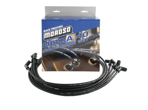 Moroso Performance - MOR73814 - Moroso Ultra 40 Race Wire Universal Wire Set  - Black, 90 Degree Plug, Unsleeved