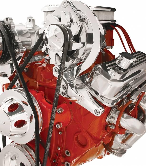 Billet Specialties - BSP10720 - Billet Specialties Bracket – Alternator Top Mount V-Groove SBC Short Water Pump with Vortec Heads