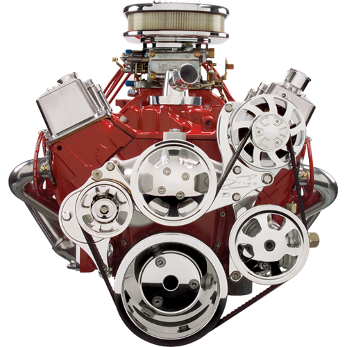 Billet Specialties - BSP13225 - Tru Trac Serpentine System Small Block Chevy with Alternator and P/S, NO A/C, 105 amp Alternator, Polished Finish