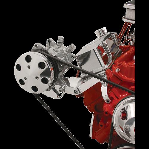 Billet Specialties - BSP11421 - Billet Specialties Bracket – Compressor (508) Side Mount V-Groove SBC Long Water Pump