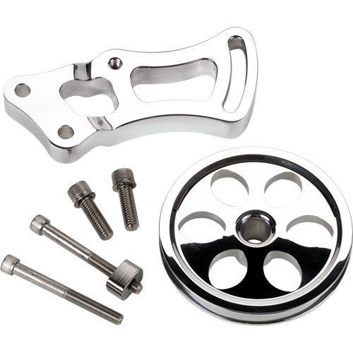 Billet Specialties - BSP12220 - Billet Specialties Bracket ? Power Steering SBC Long Water Pump w/V-Groove Pulley
