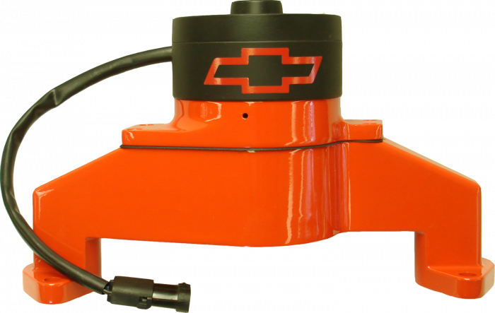 Proform - 141675 - Chevy Big Block Aluminum Electric Water Pump, Chevy Orange, Bowtie Emblem