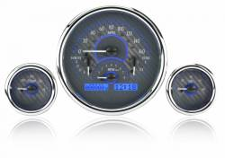 Dakota Digital - DAKVHX-1013-C-B - Triple Round Universal VHX System, Carbon Fiber Style Face, Blue Display - Image 2