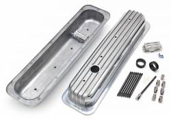 Trans-Dapt Performance Products - Retro Valve Covers; Short; 1987-1999 Small Block Chevy 5.0/5.7L, Aluminum Trans-Dapt 6607 - Image 1