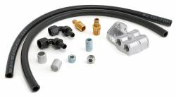 Trans-Dapt Performance Products - TD1014 - Trans-Dapt Single Oil Filter Relocation Kit For LS Oil Pans with-10AN fittings; Horizontal Port Remote Base- Cast Aluminum - Image 1
