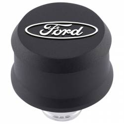 Breather Cap Push-In Open Emissions Black Crinkle Ford Racing Logo