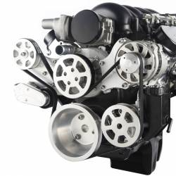 Eddie Motorsports - Eddie Motorsports MS117-92M Chevy LS S-Drive with Alternator and Power Steering, NO A/C SFI Balancer, w/attached Plastic Reservoir, Brushed Satin - Image 2