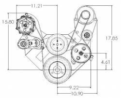 Kwik Performance - K10323 -  SBC Serpentine System Brackets Only, Sanden Mini-A/C, Alternator, Power Steering - Image 2
