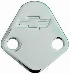 Proform - 141211 - BBC Fuel Pump Block-Off Plate - Chrome with Bow Tie Emblem