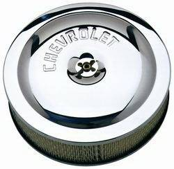 "Proform - 141315 - 10"" Round High-Performance Air Cleaner - Chrome with Chevrolet Emblem"