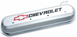 Proform - 141265 - LS Slant Edge Valve Covers - Chrome with Recessed Red/Black Emblem
